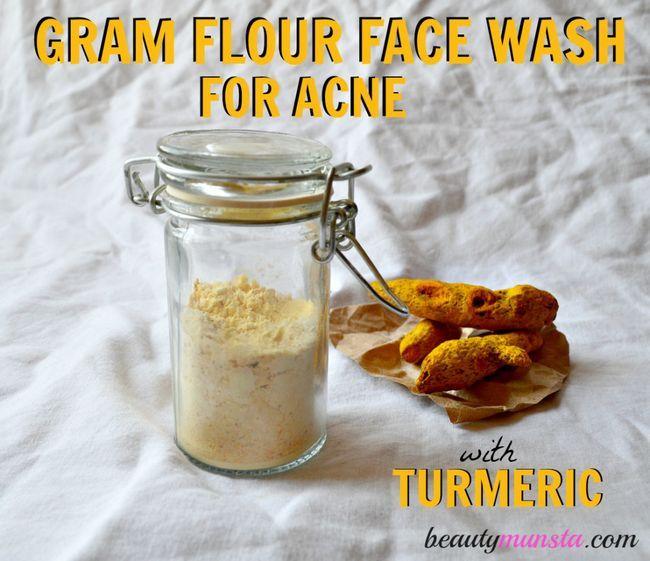 Deux face anti-acné ingrédient laver avec du curcuma!
