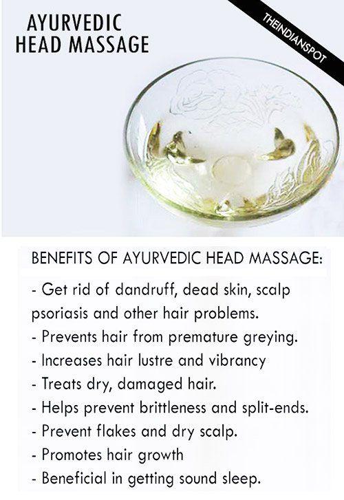 Fotografía - Ayurvédique tête et le cuir chevelu Massage- huiles, les avantages et comment