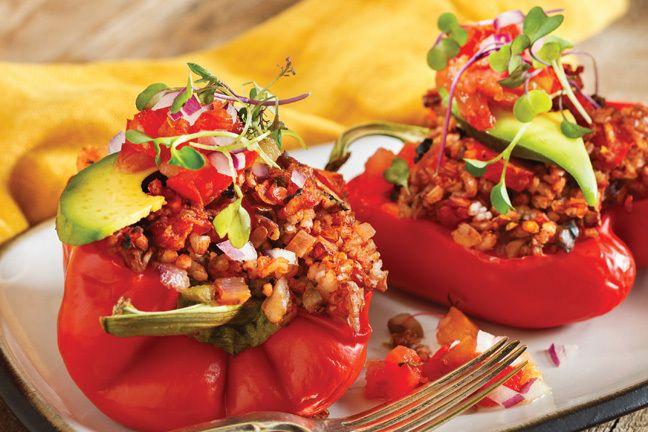 champignons poivrons farcis recette